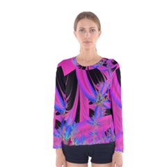 Fractal In Bright Pink And Blue Women s Long Sleeve Tee