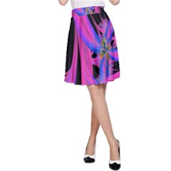 Fractal In Bright Pink And Blue A-Line Skirt