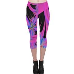 Fractal In Bright Pink And Blue Capri Leggings
