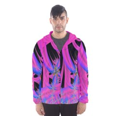Fractal In Bright Pink And Blue Hooded Wind Breaker (men)