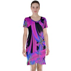 Fractal In Bright Pink And Blue Short Sleeve Nightdress