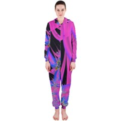 Fractal In Bright Pink And Blue Hooded Jumpsuit (ladies)