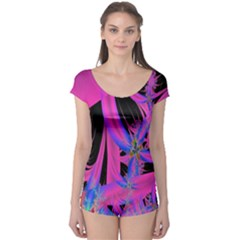 Fractal In Bright Pink And Blue Boyleg Leotard