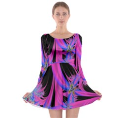 Fractal In Bright Pink And Blue Long Sleeve Skater Dress