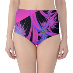 Fractal In Bright Pink And Blue High Waist Bikini Bottoms