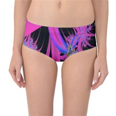Fractal In Bright Pink And Blue Mid Waist Bikini Bottoms