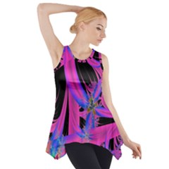 Fractal In Bright Pink And Blue Side Drop Tank Tunic