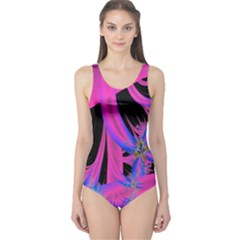 Fractal In Bright Pink And Blue One Piece Swimsuit