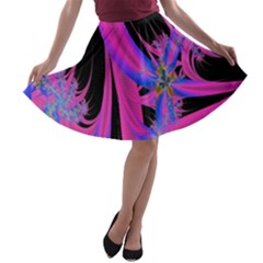 Fractal In Bright Pink And Blue A Line Skater Skirt