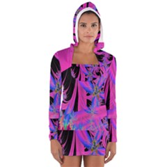Fractal In Bright Pink And Blue Women s Long Sleeve Hooded T-shirt