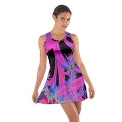 Fractal In Bright Pink And Blue Cotton Racerback Dress