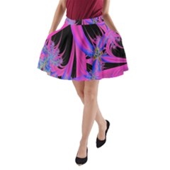 Fractal In Bright Pink And Blue A Line Pocket Skirt