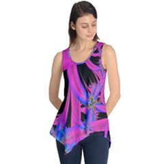 Fractal In Bright Pink And Blue Sleeveless Tunic
