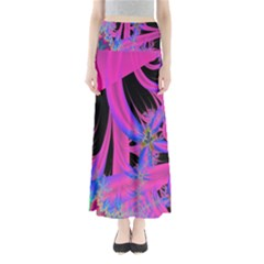 Fractal In Bright Pink And Blue Maxi Skirts