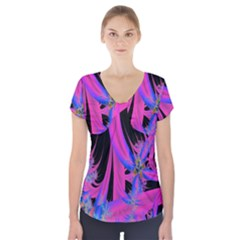 Fractal In Bright Pink And Blue Short Sleeve Front Detail Top