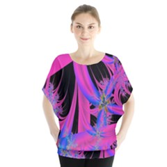 Fractal In Bright Pink And Blue Blouse