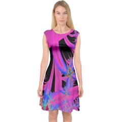 Fractal In Bright Pink And Blue Capsleeve Midi Dress