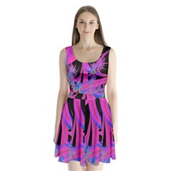 Fractal In Bright Pink And Blue Split Back Mini Dress