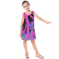 Fractal In Bright Pink And Blue Kids  Sleeveless Dress