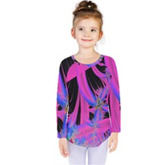 Fractal In Bright Pink And Blue Kids  Long Sleeve Tee