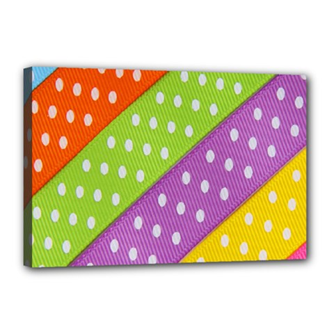Colorful Easter Ribbon Background Canvas 18  X 12