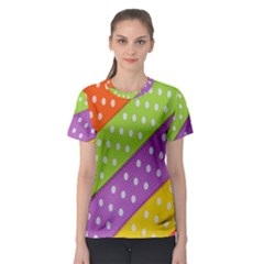 Colorful Easter Ribbon Background Women s Sport Mesh Tee