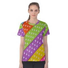 Colorful Easter Ribbon Background Women s Cotton Tee