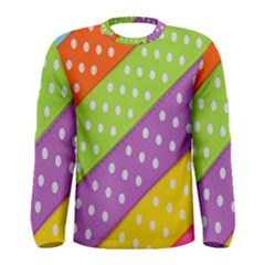 Colorful Easter Ribbon Background Men s Long Sleeve Tee