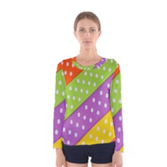 Colorful Easter Ribbon Background Women s Long Sleeve Tee