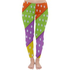 Colorful Easter Ribbon Background Classic Winter Leggings