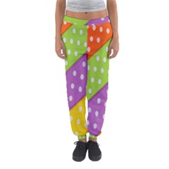 Colorful Easter Ribbon Background Women s Jogger Sweatpants
