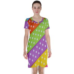 Colorful Easter Ribbon Background Short Sleeve Nightdress