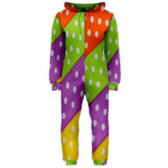 Colorful Easter Ribbon Background Hooded Jumpsuit (ladies)