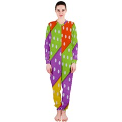 Colorful Easter Ribbon Background Onepiece Jumpsuit (ladies)