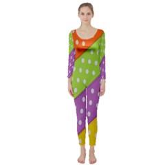 Colorful Easter Ribbon Background Long Sleeve Catsuit