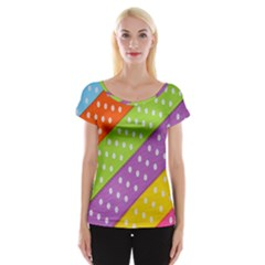 Colorful Easter Ribbon Background Women s Cap Sleeve Top