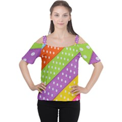 Colorful Easter Ribbon Background Women s Cutout Shoulder Tee