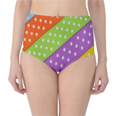 Colorful Easter Ribbon Background High Waist Bikini Bottoms