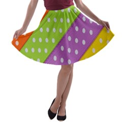 Colorful Easter Ribbon Background A-line Skater Skirt