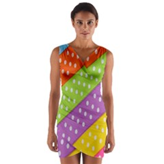 Colorful Easter Ribbon Background Wrap Front Bodycon Dress