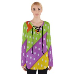 Colorful Easter Ribbon Background Women s Tie Up Tee
