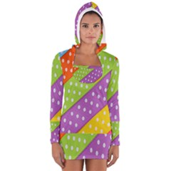 Colorful Easter Ribbon Background Women s Long Sleeve Hooded T Shirt