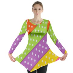 Colorful Easter Ribbon Background Long Sleeve Tunic