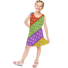 Colorful Easter Ribbon Background Kids  Tunic Dress