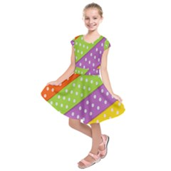 Colorful Easter Ribbon Background Kids  Short Sleeve Dress