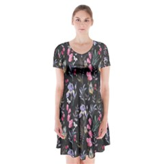 Wildflowers I Short Sleeve V Neck Flare Dress