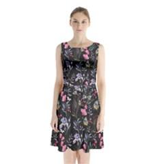 Wildflowers I Sleeveless Chiffon Waist Tie Dress