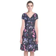 Wildflowers I Short Sleeve Front Wrap Dress