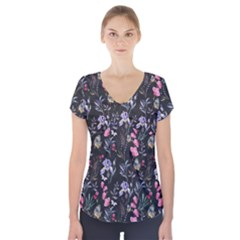 Wildflowers I Short Sleeve Front Detail Top