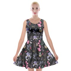 Wildflowers I Velvet Skater Dress